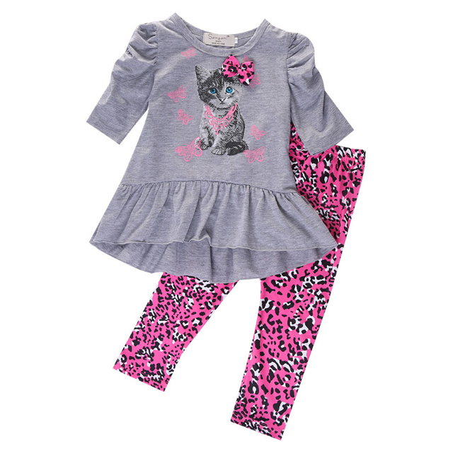 bd7256bd48c0 T-shirt Long Sleeve Bow Tops + Leopard Pant Children Kids Baby Girls  Clothes Sets 2pcs Outfits Tops Cat Printed 2PCS Outfits Set