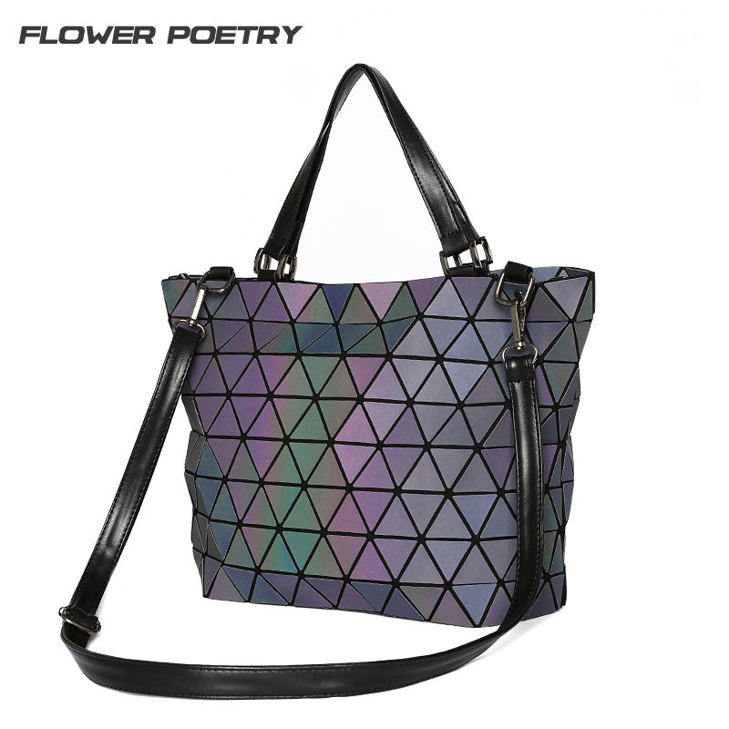 Women's Handbags Briefcase Geometry Sequins Mirror Laser Plain Shoulder Bucket Bags Sac Luminous Tote Bags Top-Handle Bag