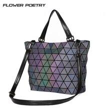 Frauen Handtaschen Aktentasche Geometrie Pailletten Spiegel Laser Plain Schulter Eimer Taschen Sac Leucht Tote Baobao Taschen Top-Griff tasche