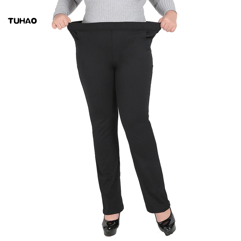 TUHAO women's formal office work pants black plus size 5XL 7XL ladies straight pants black OL large size female trousers YH07