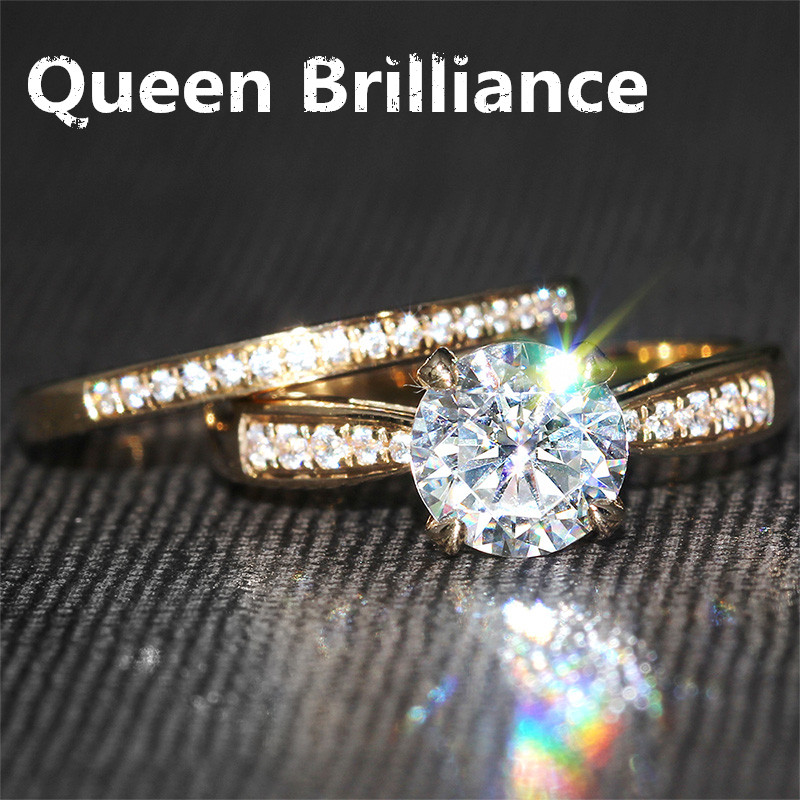 14K 585 Yellow Gold 1 Carat Center 6.5mm F Color Lab Grown Moissanite Diamond Engagement Ring Set Solitare with Accents