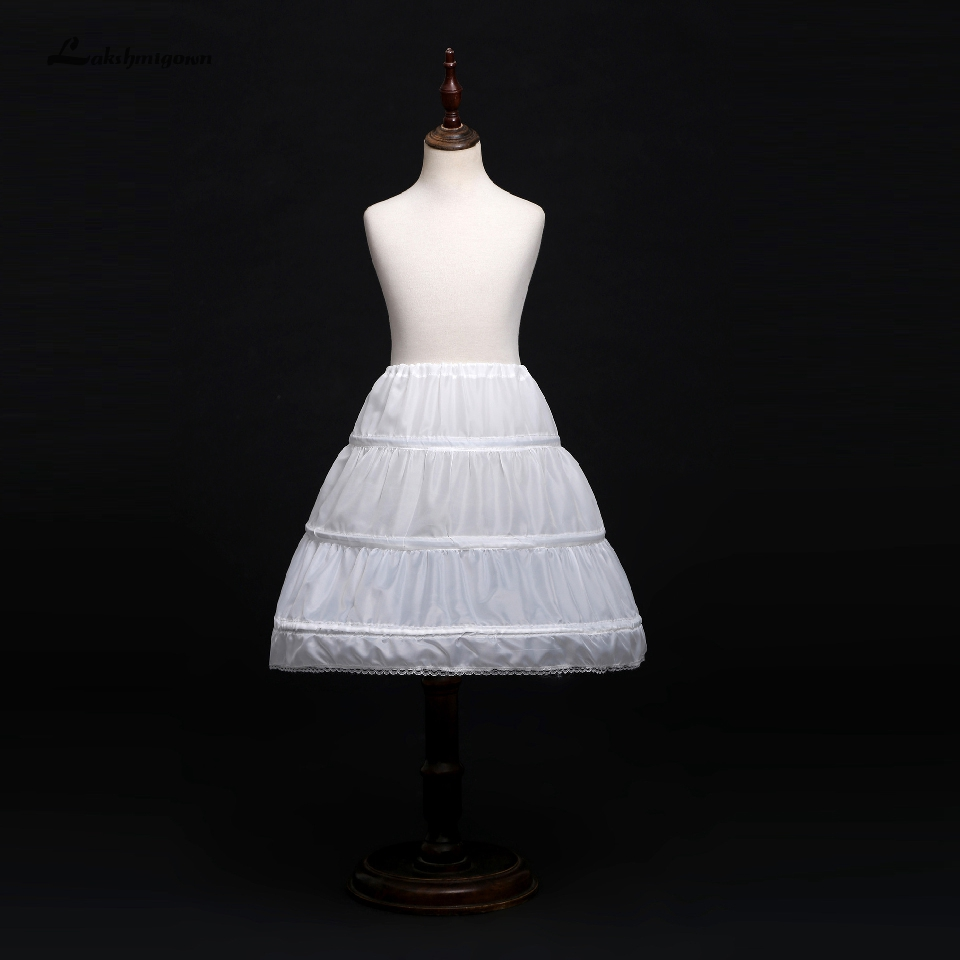 Lakshmigown Child Girls Underskirt 3 Hoops One Layer Kids Crinoline Lace Trim Flower Girl Dress Children Petticoats