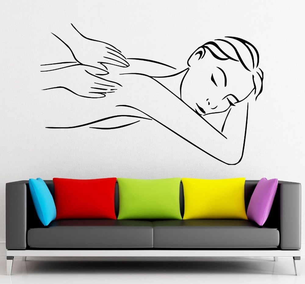 Salon sticker spa decal muurstickers posters vinyl wall for Poster mural zen deco