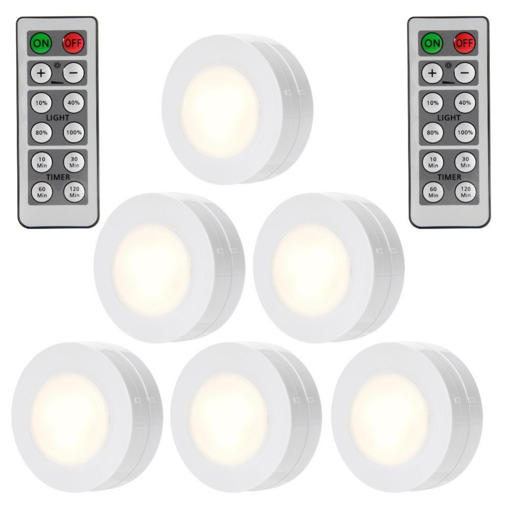 LumiParty 6PCS LED Puck Lights Remote Controlled Closet Lights Super Bright Under Cabinet Lighting Round Shape Battery Powered