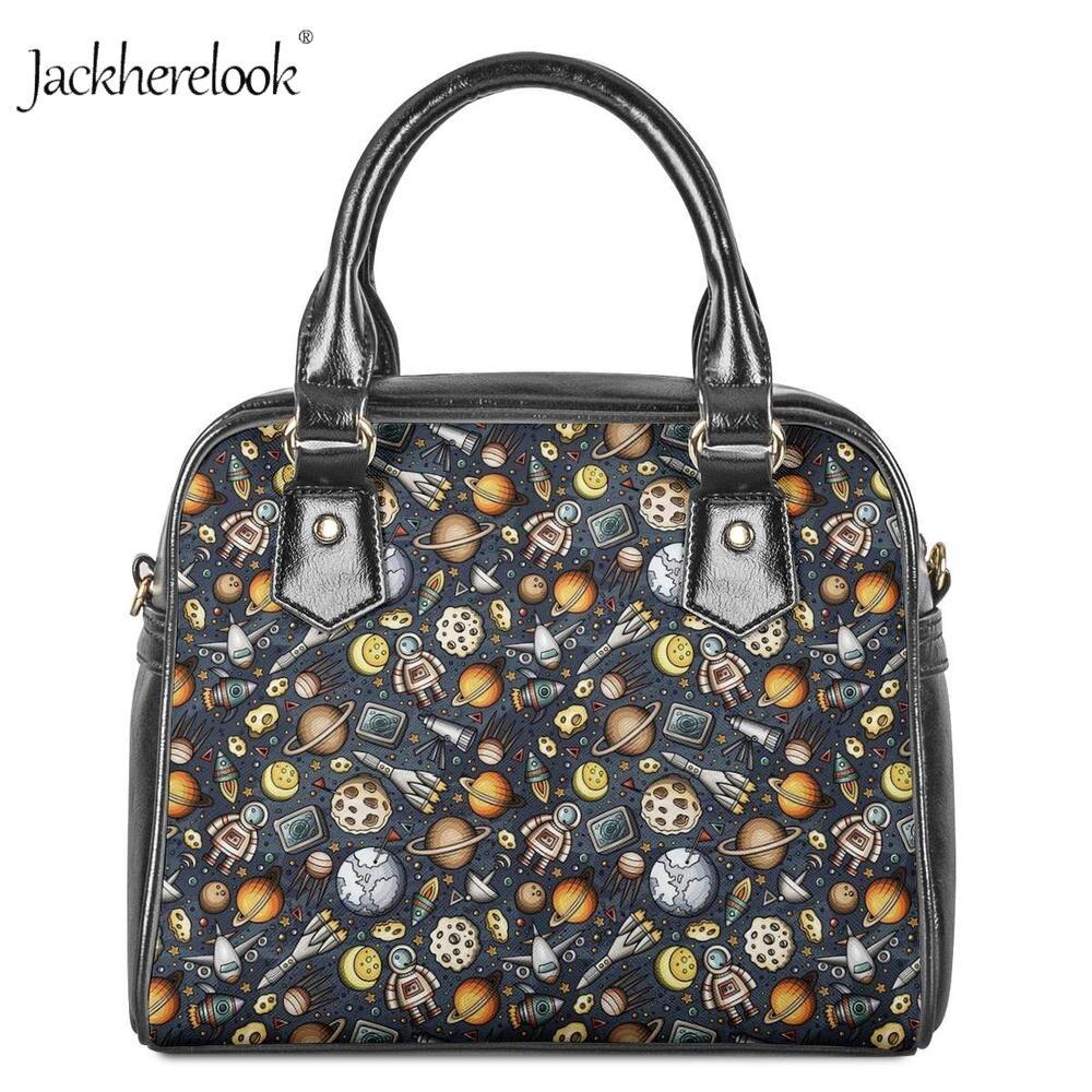 Jackherelook drôle astronautes de l'espace impression femmes sac à main sac à bandoulière marque Designer femmes sacs en cuir dames sac à bandoulière