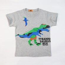 цена на High Quality Summer Cartoon Dinosaur T Shirt Boy Tops Cotton Short Sleeve T-shirt for Boys Girls Kids Tshirt 5 Colors