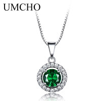 UMCHO 925 Sterling Silver Pendants Necklaces For Women Link Chain Vintage Emerald Pendant Jewelry Engagement Wedding Party Gift