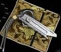 Titanium tc4 mini edc 113mm largo cuchillo de corte de una sola pieza 3d shell 4 engranajes tallado mango ligero 80 g/pc