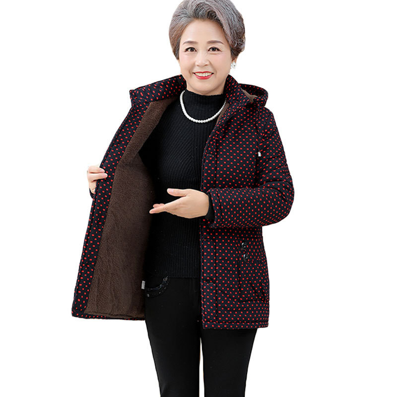Flocking cotton jacket middle aged female winter   parkas   Hooded tops Thicken Keep warm jackets Plus size 5XL women short   parkas