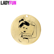 Ladyfun Customizable Stainless Steel Charm SURVIVOR Cancer Awareness Pendant Strength Fight Heal Charms for jewelry making