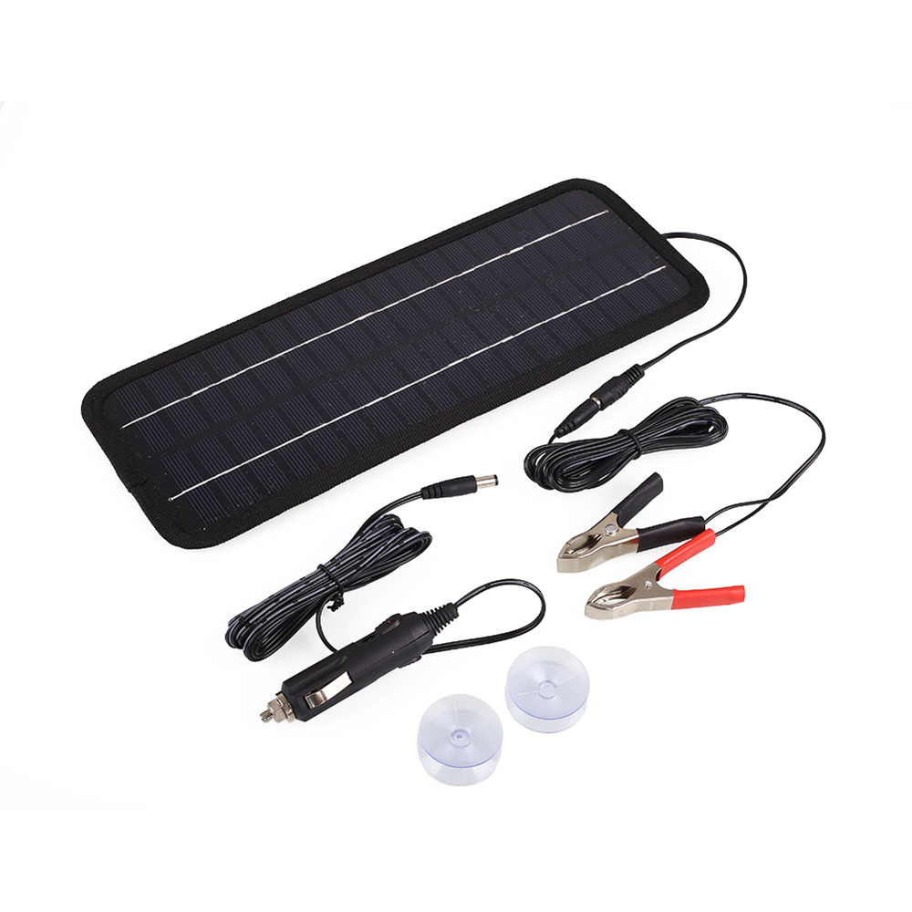 BCMaster 12V 4.5W Solar Panel Charger Power Bank Solar Panel USB Travel Battery Charger Core Clip Line DC Line 2 Suction Cups