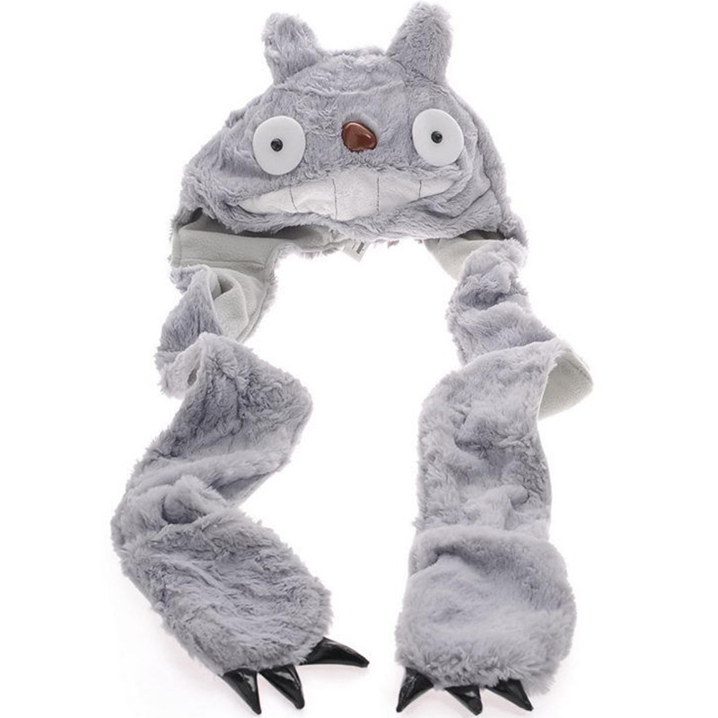 Cartoon Animals Winter Warm My Neighbor Totolo Plush Hat Cap Gloves Ghibli Totolo Cosplay Gray Cat  Scarf, Hat & Glove Sets