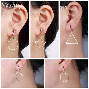 Metal Geometry Earrings No Hole Ear Clips Round/Triangle/Square/Hexagon/Pentagram Clip Earrings Without Piercing CE209(China)