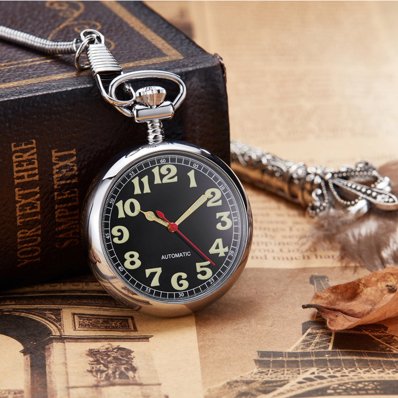 Hot Sale Copper Pocket Watch Men Unique Hollow Mechanical Hand winding Roman numerals FOB Chain Watch Gift