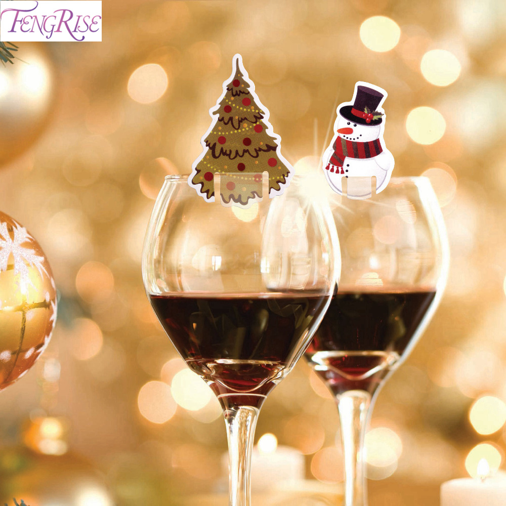 Fengrise 10 Pcs Christmas Decoration Wine Glass Paper Cards Christmas Bells Santa Claus Christmas Wine Glass Decoration New Year Christmas Bells Aliexpress
