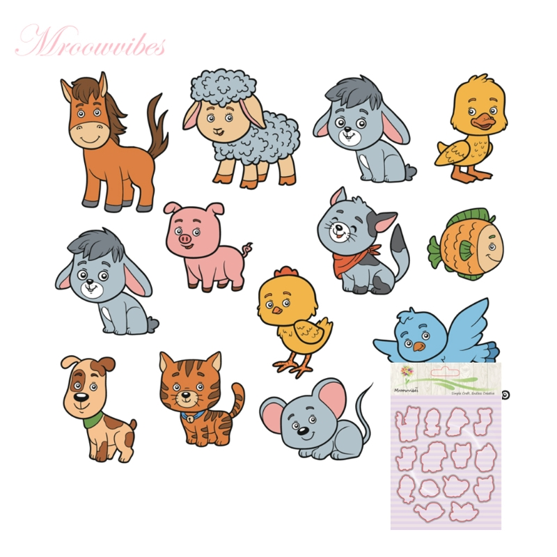 New Clear Stamps Animal Assemblage Silicone Stamp Cutting Dies Stencil Frame For DIY Scrapbook Album Decor pig silicone clear stamp metal cutting dies stencil frame scrapbook album decor clear stamps scrapbooking accessories