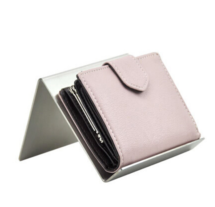 10 pcs mirror surface stainless steel purse holder desktop wallet display rack wallet showing stand ih 4600n