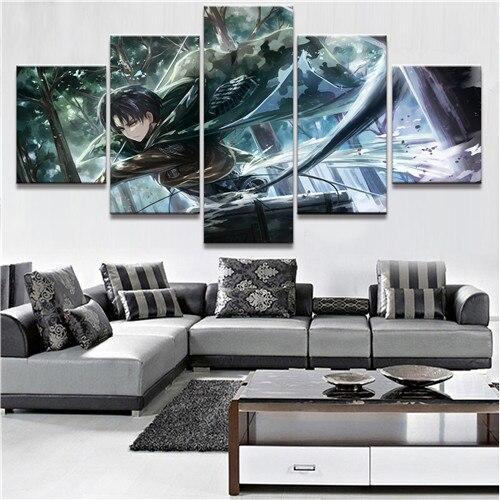 5 Pièce HD Impression Grand Personnalisé Made Attaque Sur Titan Anime Peintures sur Toile D'art de Mur pour La Maison Décorations Mur décor