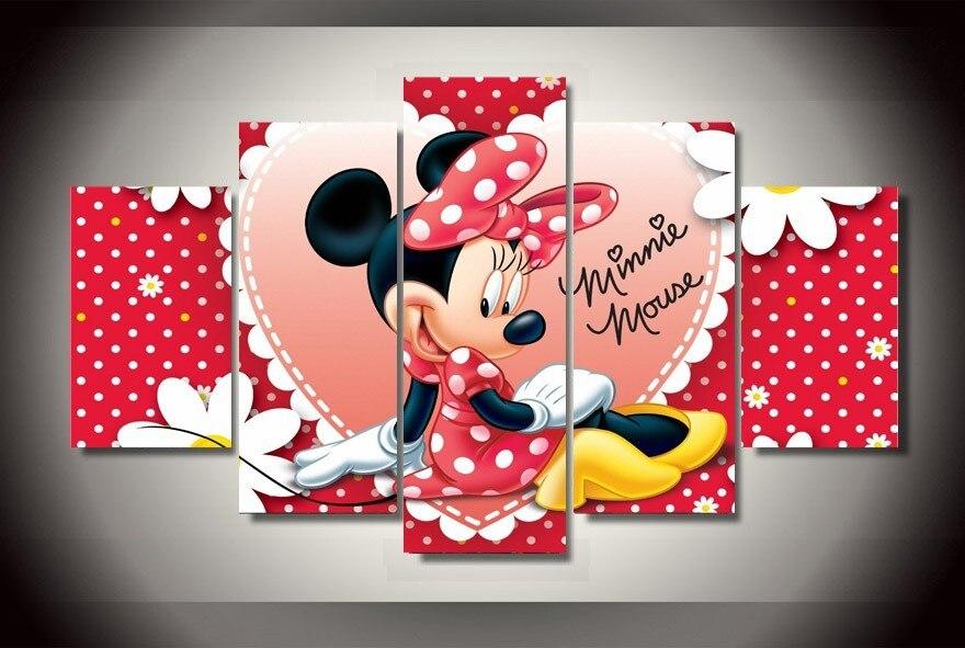 2016 livraison gratuite 5 pièces Mickey Mouse impression peinture à l'huile sur toile décoration de la maison décoration sur toile hôtel décoration peinture