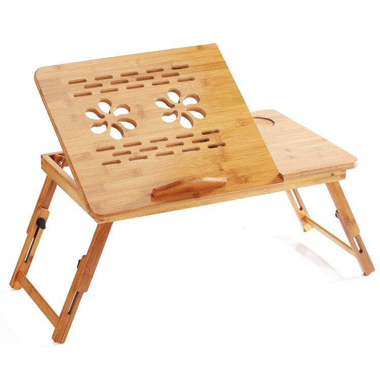 FULCLOUD 55*35*30cm Bamboo Lazy Home Computer Desk Move Desktop Computer Desk Folding Desk On A Bed Light  Heat Sink Table