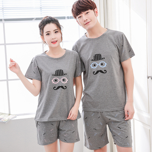 Image 1 - Plus Size 4XL Knited Cotton Pajama Sets Summer Print Pijama Couple Short Sleeve Mens Sleepwear O neck Female Pyjamas