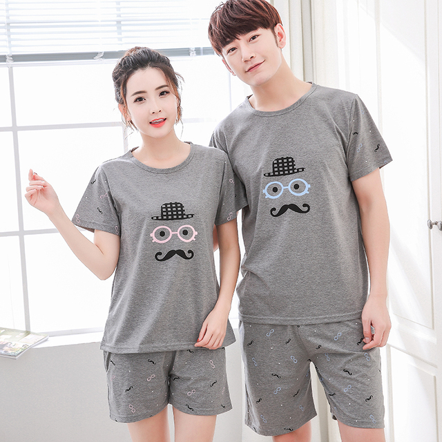 Plus Size 4XL Knited Cotton Pajama Sets Summer Print Pijama Couple Short Sleeve Mens Sleepwear O neck Female Pyjamas