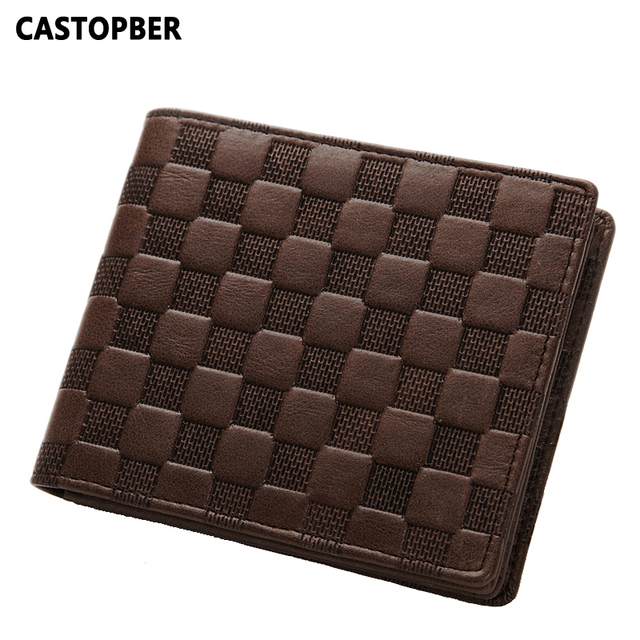 Men Wallets Famous Brand Men's Wallet Male High Quality First Layer of Cowhide Genuine Leather Business Long Wallets Plaid Brand