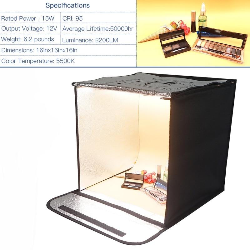 SAMTIAN 40 * 40cm LED-fotostudio Softbox Folding Fotografering - Kamera och foto - Foto 2