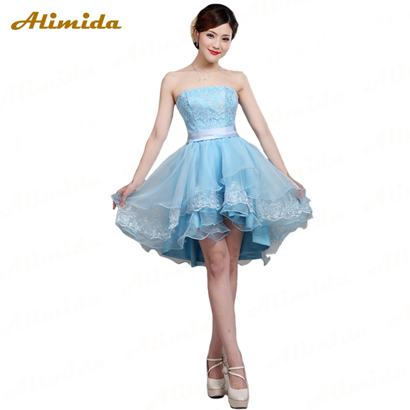 ALIMIDA Short Evening Dress 2017 Boat Neck Ball Gown Party Dresses Elegant Tiered Prom Dress Backless Robe De Soiree