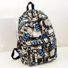 A52 2015 new fashion shoulder bag Men's backpacks women canvas backpack schoolbag mochila Graffiti unisex rucksack