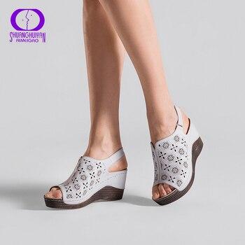 AIMEIGAO 2018 nouveaux talons compensés d'été femmes sandales bout ouvert poisson tête plate-forme chaussures talons hauts Slingbacks femmes chaussures