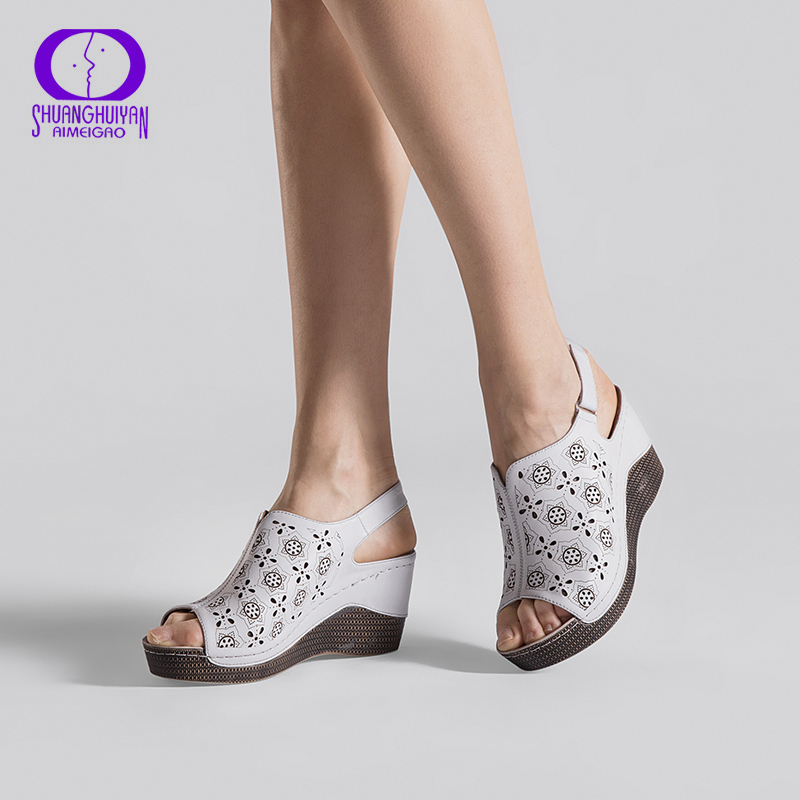 AIMEIGAO 2018 New Summer Wedge Heels Women Sandals Open Toe Fish Head Platform Shoes High Heels Slingbacks Women Shoes lolita style trendy side bang white long wave heat resistant synthetic capless cosplay wig