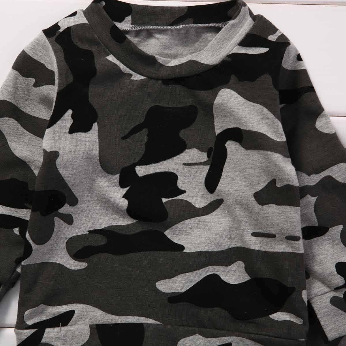5b2010351 ... Camouflage 2PCS Newborn Baby Boy Girl Clothes Set Fashion Toddler Kids  Long Sleeve T-shirt ...
