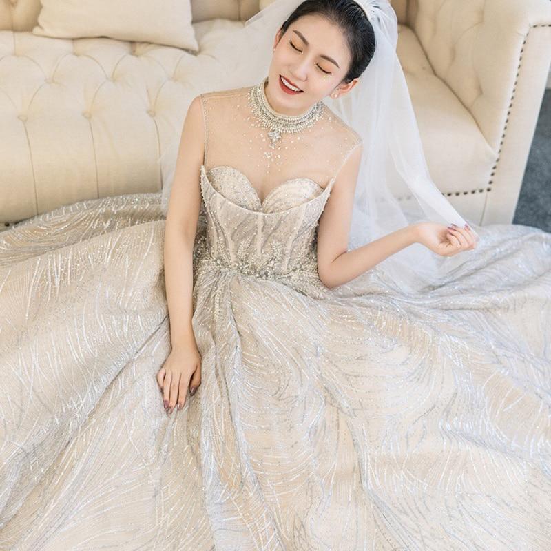 Vestidos de novia 2019 wedding dresses sleeveless gowns dress luxury plus size vintage muslim wedding-dress with crystal beading