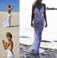 2016 Sexy Design Halter Neck Backless White Lace Beach Wedding Dress Bridal Gowns Custom Made Size Vestido De Noiva