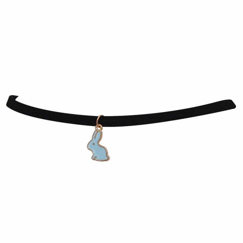 Caliente nueva moda de cuero negro de terciopelo pequeño conejito colgantes cuello falso gargantilla Collar para mujer joyería 2019