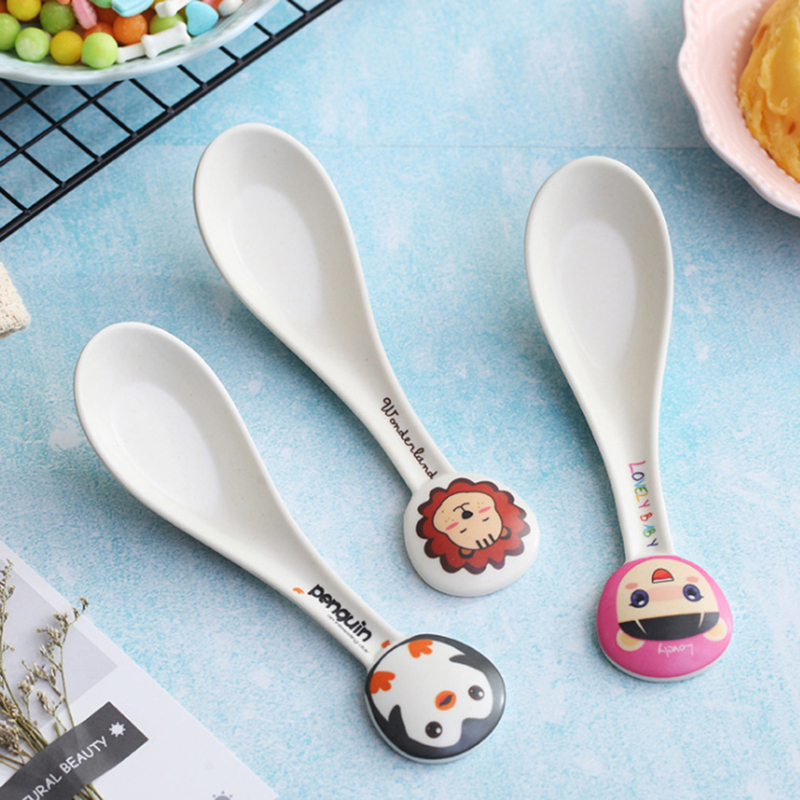 Bamboo Fiber Environmental Protection Creative Cute Spoon Fork Children's Gift Tableware Baby Spoon Fork Spoon Spoon