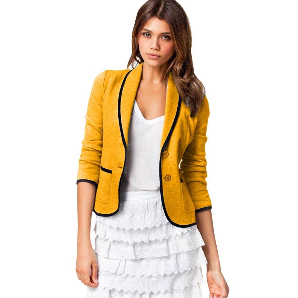 Yellow Deep Gray Color Office Suit Blazer Jacket Women Fashion Long Sleeve Women Elegant Jacket Suits Female Plus Size 6XL Z0528