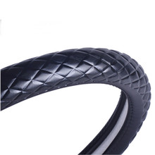 car steering wheel cover covered with calfskin film on head layer Diamond shaped embossed leather