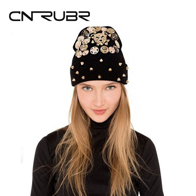 Fashion European American Style Punk Rivet Warm Winter Knit Hats Female Leopard Picture Head Beanie Hat Sets Of Headgear цены онлайн