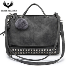 THREE FEATHER Vintage Nubuck Leather Female Top-handle Rivet Bag Larger Women's Hair Ball Shoulder Motorcycle Messenger Bag S093