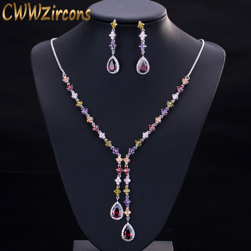 CWWZircons Elegant Multicolored Cubic Zirconia Stone Long Dangle Drop Party Jewelry Sets for Women Necklace and Earring Set T226