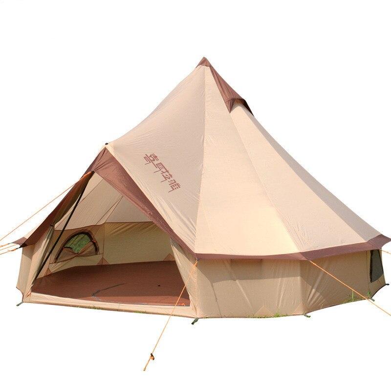 Gran espacio Mongolia Yurt tienda 8-10 personas al aire libre impermeable Oxford familia carpa para auto-conducir Camping salvaje supervivencia Picnic