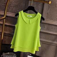 S 5XL New Women's Chiffon Tops Summer 2019 Casual All match Solid O neck Sleeveless Loose Top Tees T shirt Female Plus Size