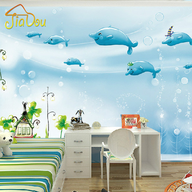 Custom mural 3d cartoon children 39 s room non woven for Cartoon mural wallpaper