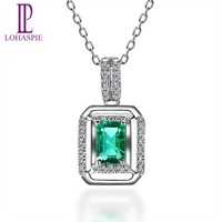 Lohaspie Solid 18K White Gold 0 66ct Natural Emerald Single Cut SI1 Diamonds Pendant Necklace For