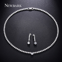 Newest Arrival Classic Round Chokers Chain White Gold Plated AAA Zircon Necklace High Quality Jewelry Set