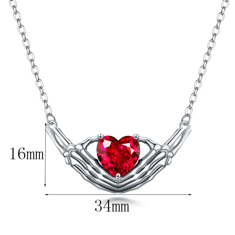Hand Heart zircon crystal necklace Women Silver Necklaces Wedding Jewelry 1
