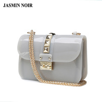 JASMIN NOIR Summer 2017 Jelly Transparent Crystal Messenger Bag Women Beach Bag Chain Female Crossbody Bag