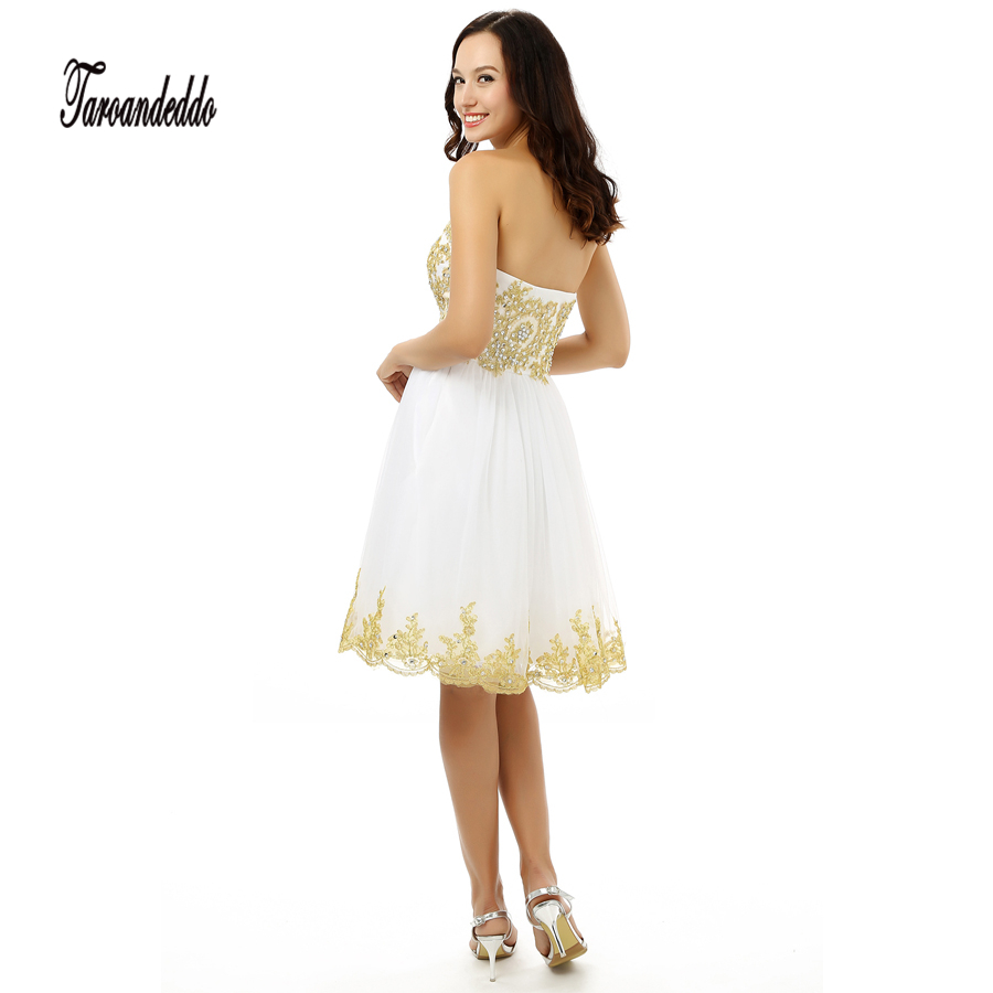 c69fcb04e48 Sweetheart Gold Lace Applique A line White Tulle Short Prom Dress Sexy Homecoming  Dresses New Fashion-in Prom Dresses from Weddings   Events on ...